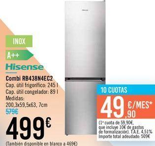 Oferta de Combi RB438N4EC2 Hisense por 499€