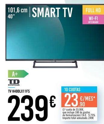 """Oferta de TV 40"""" SMART TV K40DLX11FS TD SYSTEMS por 239€"""