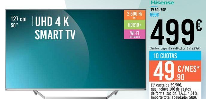 "Oferta de TV 50"" UHD 4K SMART TV 50U7QF Hisense por 499€"