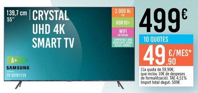 "Oferta de TV 55"" CRYSTAL UHD 4K SMART TV 55TU7125 SAMSUNG por 499€"