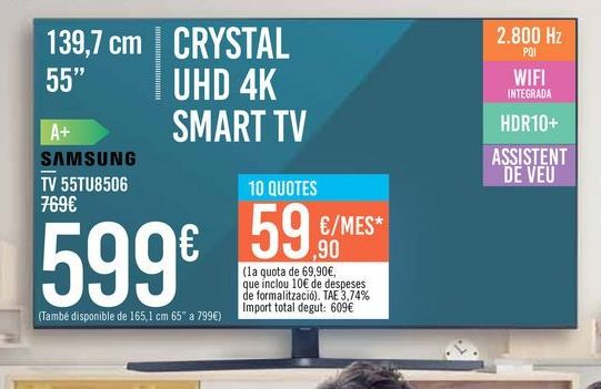"Oferta de TV 55"" CRYSTAL UHD 4K SMART TV 55TU8506 SAMSUNG por 599€"