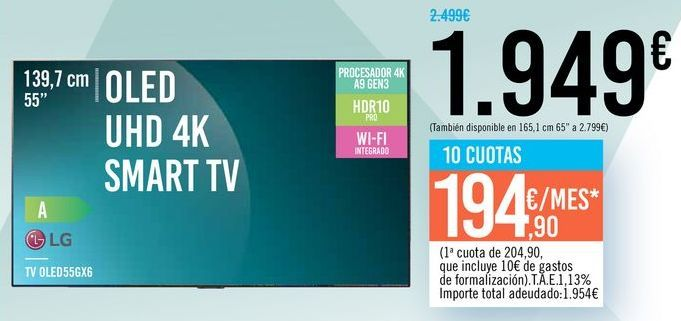 "Oferta de TV 55"" OLED UHD 4K SMART TV OLED55CK6 LG por 1949€"