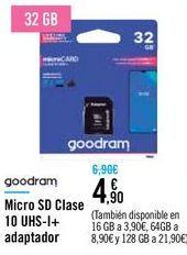 Oferta de Micro SD Clase 10 UHS-I + adaptador por 4,9€