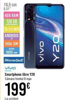 Oferta de Smartphone libre Y20 VIVO por 199€