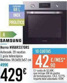 Oferta de Horno NV68R3370RS SAMSUNG  por 429€