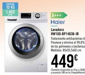 Oferta de Lavadora HW100-BP14636-IB Haier por 449€