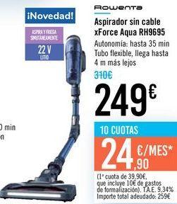 Oferta de Aspirador sin cable xForce Aqua RH9695 Rowenta  por 249€