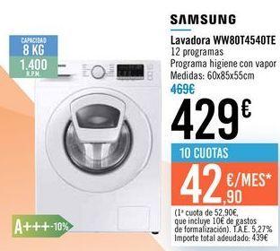 Oferta de Lavadora WW80T4540TE SAMSUNG por 429€