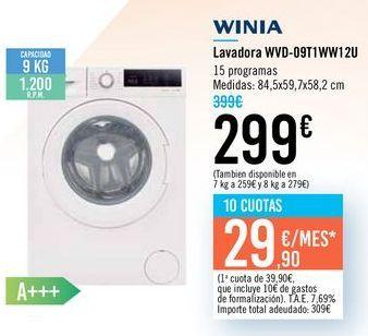 Oferta de Lavadora WVD-09T1WW122U WINIA por 299€