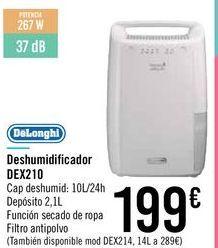 Oferta de Deshumidificador DEX210 DeLonghi por 199€