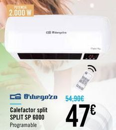 Oferta de Calefactor split SPLIT SP 6000 Orbegozo por 47€