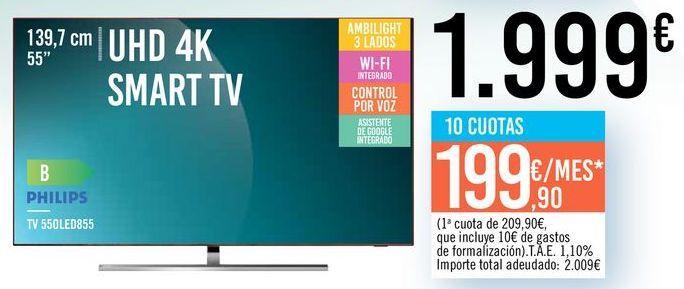 "Oferta de TV 55"" UHD 4K SMART TV 55OLED855 PHILIPS por 1999€"