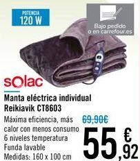 Oferta de Manta eléctrica individual Reikiavik CT8603 Solac por 55,92€