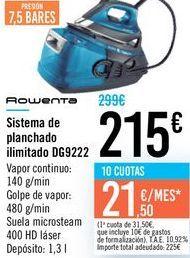 Oferta de Sistema de planchado ilimitado DG9222 Rowenta  por 215€
