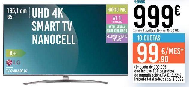 "Oferta de TV 65"" UHD 4K SMART TV NANOCELL 65NAN0816 LG por 999€"