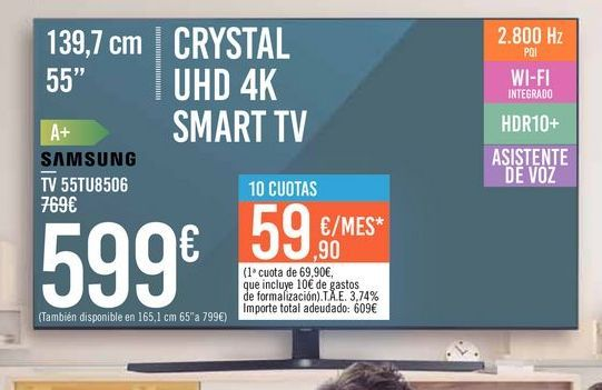 "Oferta de TV 55"" CRYSTAL UHD 4K SMART TV 55TU8506 SAMSUNG por 599€"