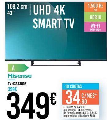 """Oferta de TV 43"""" UHD 4K SMART TV 43A7300F Hisense por 349€"""