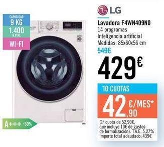 Oferta de Lavadora F4WN409N0 LG por 429€