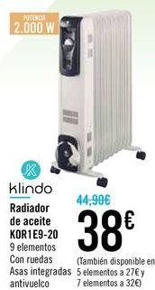 Oferta de Radiador de aceite KOR1E9-20 Klindo  por 38€