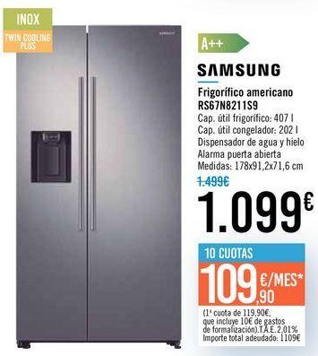 Oferta de Frigorífico americano RS67N8211S9 SAMSUNG por 1099€