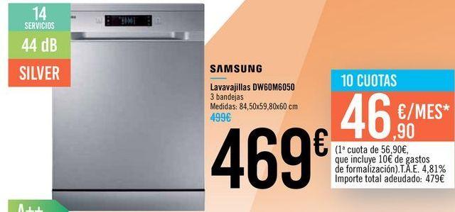 Oferta de Lavavajillas DW60M6050 Samsung  por 469€
