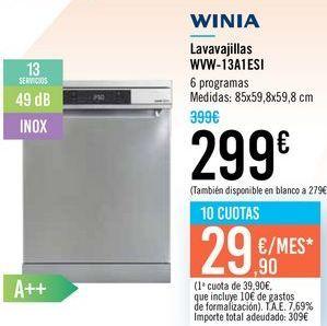Oferta de Lavajillas WVW-13A1ESI WINIA  por 299€