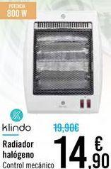 Oferta de Radiador halógeno Klindo  por 14,9€