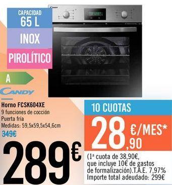 Oferta de Horno FCSK604XE Candy  por 289€