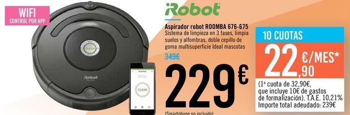 Oferta de Aspirador robot ROOMBA 671-675 iRobot  por 229€