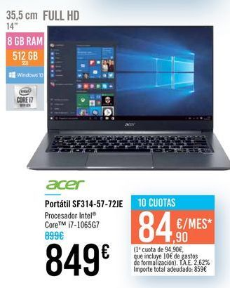 Oferta de Portátil SF314-57-72JE Acer por 849€