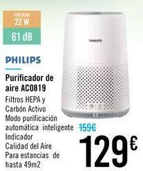Oferta de Purificador de aire AC0819 PHILIPS por 129€
