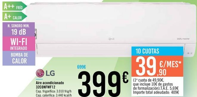 Oferta de Aire acondicionado 32CONFWF12 LG  por 399€