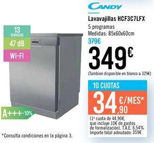 Oferta de Lavavajillas HFC3C7LFX Candy  por 349€