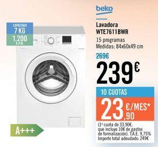 Oferta de Lavadora WTE7611BWR Beko por 239€