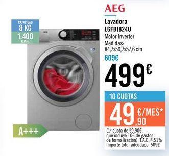 Oferta de Lavadora L6FB1824U AEG  por 499€