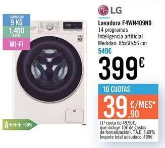 Oferta de Lavadora F4WN409N0 LG por 399€