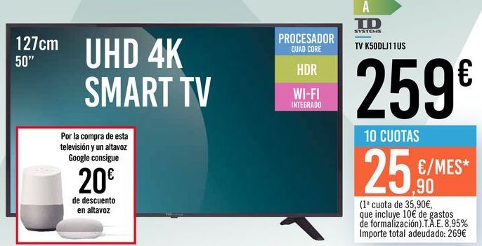 "Oferta de TV 50"" UHD 4K SMART TV K50DLJ11US TD SYSTEMS por 259€"
