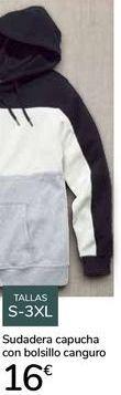 Oferta de Sudadera capucha con bolsillo canguro  por 16€