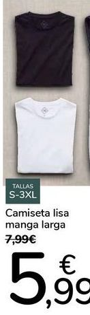 Oferta de Camiseta lisa manga larga  por 5,99€