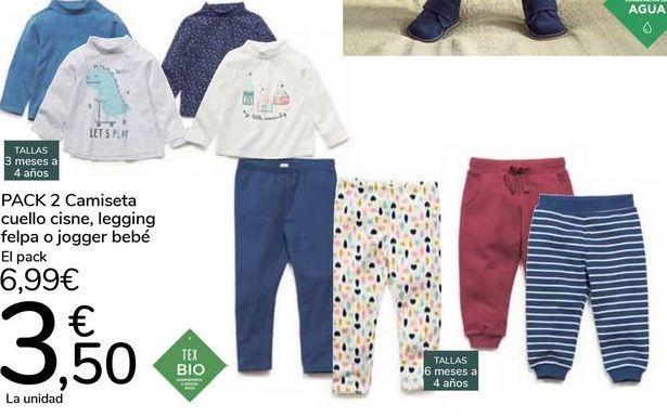 Oferta de PACK 2 Camiseta cuello cinse, legging felpa o jogger bebé  por 6,99€
