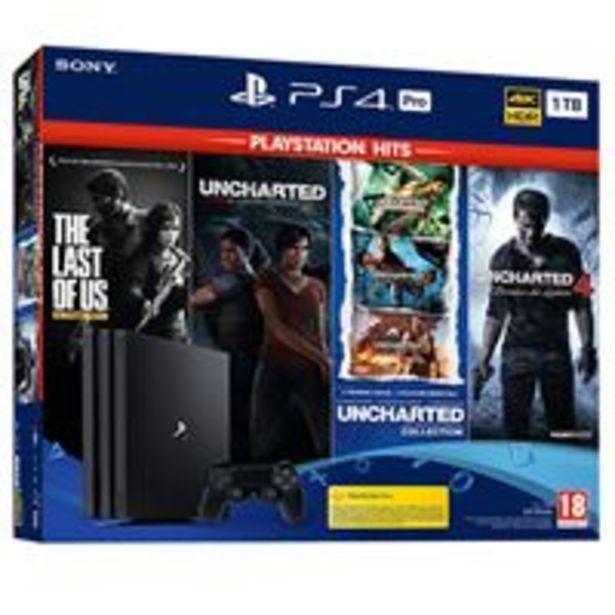 Oferta de Consola PS4 Pro 1TB+4 Hits: The Last of Us, Uncharted 4, Uncharted el Legado Perdido y Uncharted Collection por 399,99€