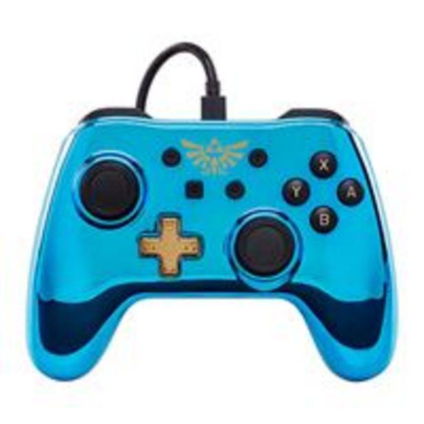 Oferta de Mando con cable Zelda cromado azul  Nintendo Switch por 17,97€