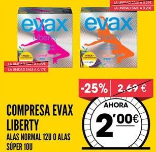 Oferta de Compresas Evax por 2€