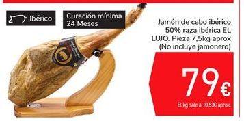 Oferta de Jamón de cebo ibérico 50% raza ibérica El LUJO. Pieza 7,5 kg aprox (No incluye el jamonero) por 79€
