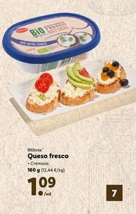 Oferta de Queso fresco Milbona por 1,09€