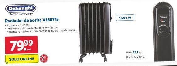 Oferta de Radiador de aceite DeLonghi por 79,99€