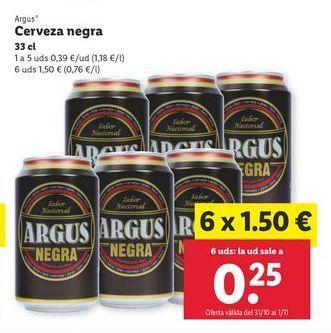 Oferta de Cerveza negra Argus por 0,39€