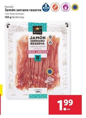 Oferta de Jamón serrano Realvalle por 1,99€