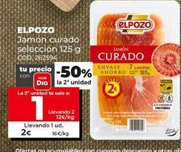 Oferta de Jamón curado El Pozo por 2€