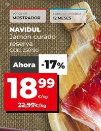 Oferta de Jamón curado Navidul por 18,99€